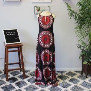 INC Boho Ikat Paisley High Cut Maxi Dress Sz L